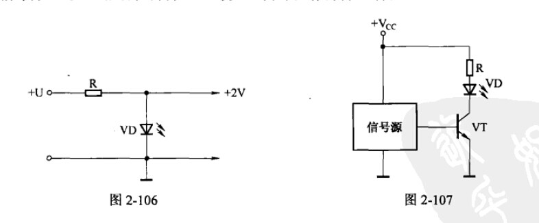 3、发光二极管用作光发射管。在红外遥控器、红外无线耳机、红外报警器等电路中,红外发光二极管担任光发射管,电路如图2-107所示,VT为开关调制晶体管,VD为红外发光二极管。信号源通过VT驱动和调制VD,使VD向外发射调制红外光。